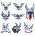 set emblems with eagles and american flags vector image vector image