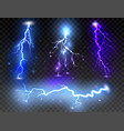 set of realistic lightnings on transparent vector image