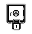 silhouette strong box object and padlock security vector image vector image