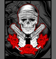 skull mafiagengster wearing bandana with gun an vector image vector image