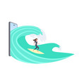 surfer girl surfing on wave young girl on vector image