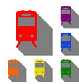 train sign set of red orange yellow green vector image