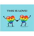 two cute rainbow colored hearts together and smili vector image vector image