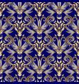 vintage floral gold damask seamless pattern blue vector image vector image