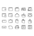 wallet icon set vector image vector image