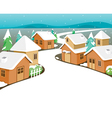 Winter Houses Covered With Snow In Town vector image
