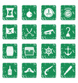pirate icons set grunge vector image