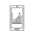 mobile phone technology finance chart arrow vector image
