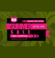 summer sale banner with green tropical exotic palm vector image