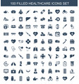100 healthcare icons vector image vector image