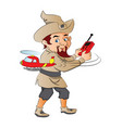 an elf playing with remote controlled toy chopper vector image vector image