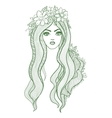 Artistic drawing of a beautiful girl with flowers vector image vector image