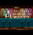 bar counter with bartender vector image