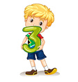 Boy holding number three vector image