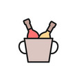 bucket two champagne bottles flat color line vector image vector image
