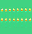 burning match animation sprite on green background vector image vector image