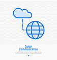 cloud computing technology thin line icon vector image vector image