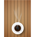 coffee cup against wooden background vector image