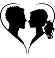 couple silhouette in heart shape vector image vector image