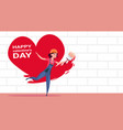 cute girl painter paint red heart shape on white vector image