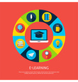 Electronic Learning Flat Infographic Concept vector image vector image