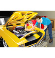 father and son with their car vector image vector image