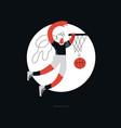 female basketball flat hand drawn vector image
