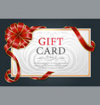 festive postcard with red ribbon and bow vector image vector image