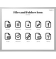 files and folders icons line pack vector image