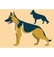 german shepherd and its silhouette vector image