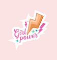 girl power cartoon emblem with lettering flash vector image