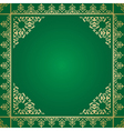 green background with vintage gold ornament vector image