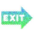 halftone blue-green exit arrow icon vector image vector image