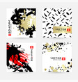 hand drawn cards with black gold and red ink vector image vector image