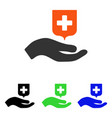 hand offer medical shield flat icon vector image vector image