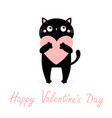 happy valentines day black cat kitten kitty vector image vector image
