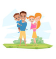 happy white family smiling in nature parents vector image vector image