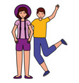 happy young people flat design vector image vector image