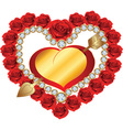 heart from red roses and diamonds vector image vector image