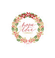 holiday card with inscription hope and love made vector image vector image