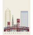 Jacksonville skyline poster vector image vector image