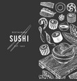 japanese cuisine design template sushi hand drawn vector image vector image