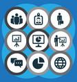 job icons set with circle graph businessman vector image
