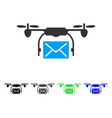 mail delivery drone flat icon vector image vector image