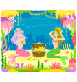mermaids and treasure vector image