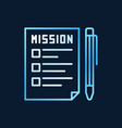mission document with pen colored line icon vector image vector image