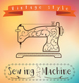 Old retro sewing machine with floral ornament on vector image
