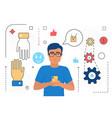 online teamwork of business people partnership vector image vector image