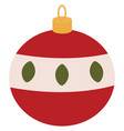 red christmas ball on white background vector image vector image