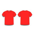 red male t-shirt template v-neck front and back vector image